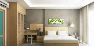 sypialnia z drewnem