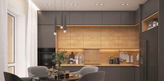 nowoczesna kuchnia z drewnem